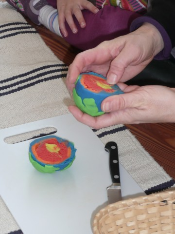 Earth model made from playdough