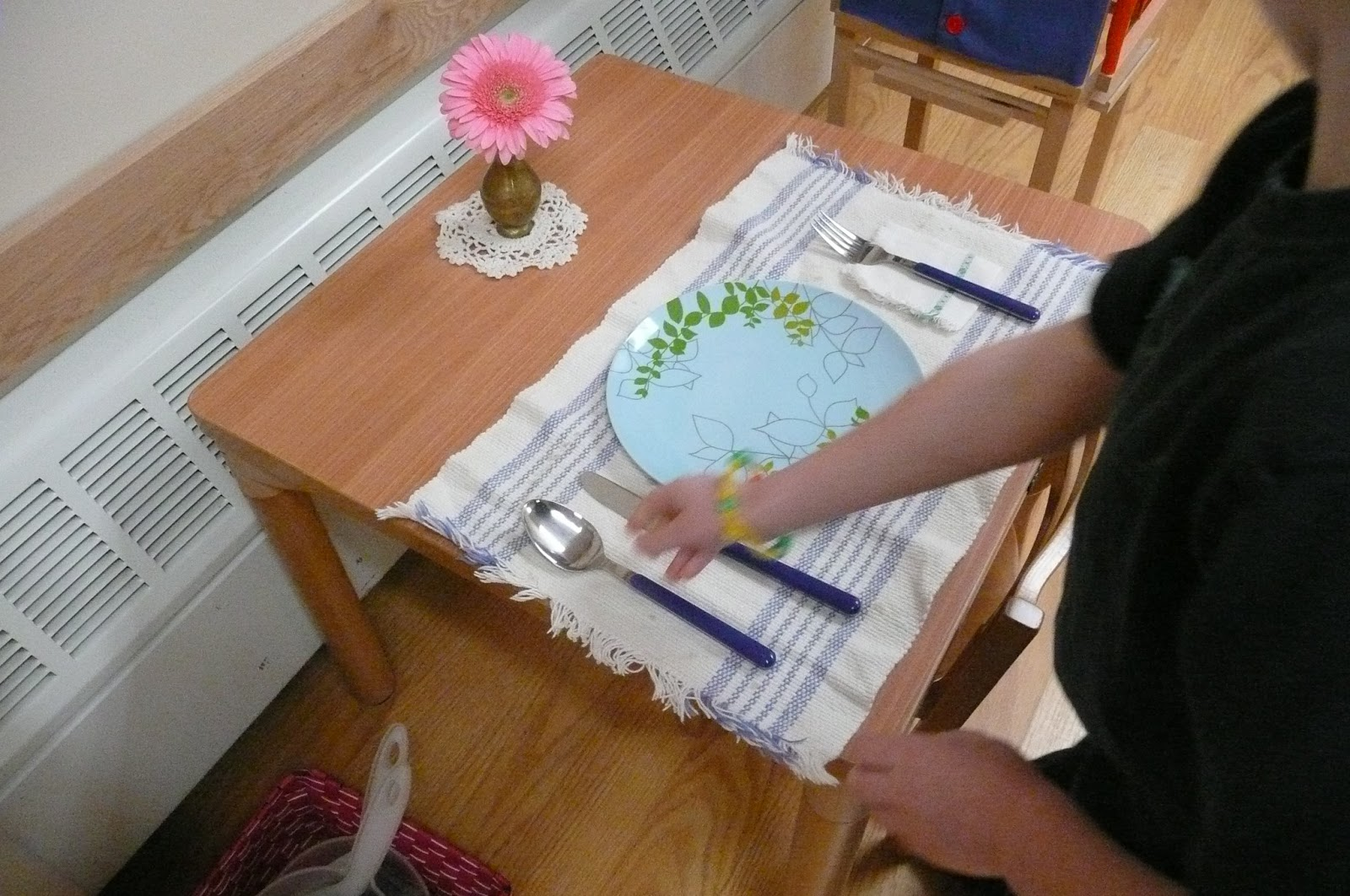 Setting a table is a \u0027work\u0027 we have in our practical life shelves. The children love to take this to a table and practice table setting! This activity ... & Setting a table - Ann Arbor Children\u0027s House - Montessori School